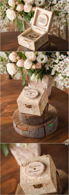 Rustic country birch wooden wedding ring box ideas @4LOVEPolkaDots