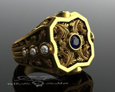 Damask engraved sculpted blue sapphire, champagne and round diamond mens solid gold scroll work power ring. Large Victorian scrolls.