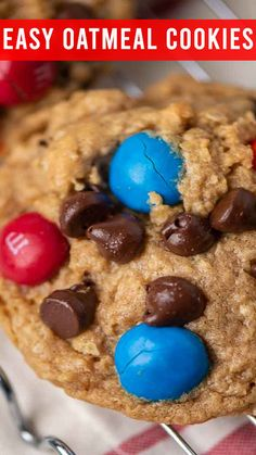 Peanut Butter M&M Monster Cookies are full of peanut butter, oatmeal, M&M's, chocolate chips and.no flour. Big batch cookies that are freezer friendly. Oatmeal No Bake Cookies, Almond Joy Cookies, Blueberry Cookies, Lemon Cookies, Cake Cookies, Sugar Cookies, Cookie Recipes, Dessert Recipes, Desserts