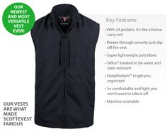 SCOTTEVEST Travel Vest Men's: With 24 hidden pockets and compartments, it remains incredibly lightweight. You'll never believe all of the gear you're carrying since our Weight Management System™ balances the load and our NoBulge™ Pockets keep that streamlined look.  Airport security becomes a breeze: just take off the vest and send it through the x-ray with all your gear safely stored inside. $125.00