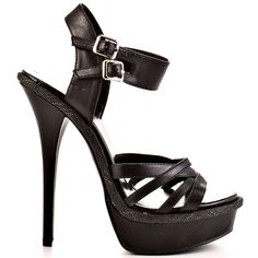 c1d3bcf26db5 This Just Fabulous style brings you a black crisscrossing vamp and double  adjustable ankle strap. A skinny 5 inch heel and 1 inch platform keeps ...