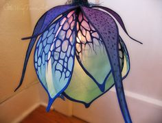 Wild Blue Lily Silk Hanging Light by littlewingfaerieart on Etsy