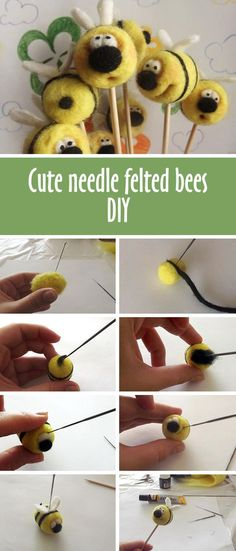 Cute needle felted bees tutorial | Делаем забавных пчелок в технике сухого валяния шерсти