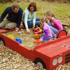 Sandbox from 13 DIY Backyard Games and Play Structures Backyard Playground, Backyard For Kids, Backyard Games, Playground Ideas, Build A Sandbox, Kids Sandbox, Sandbox Diy, Sandbox Ideas, Diy Yard Games