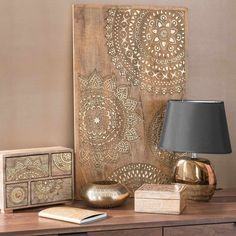 Box mit 4 Schubladen goldfarben H 21 cm Diy Wall Art, Home Decor Wall Art, Wood Wall Art, Diy Home Decor, Mandala Design, Boho Decor, Decoration, Home Accessories, Living Spaces