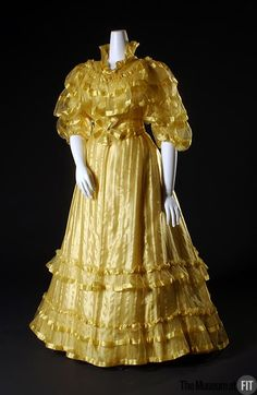 Afternoon Dress Made Of Yellow Satin Stripe Silk Gauze, By The House Of Worth (Founded 1858) - Framce   c. 1892  -  The Museum at FIT