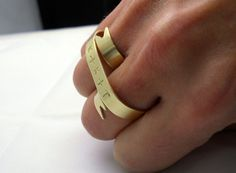 Gold Double Banner Ring  Personalized Two Finger Ring by MerCurios, $38.00