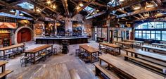 Houston Hall -old garage turned beer hall Brewery Decor, Brewery Interior, Brewery Design, Pub Interior, Restaurant Interior Design, Cafe Design, Rustic Restaurant, Restaurant Bar, Nightclub Design