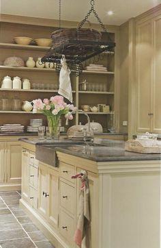 cream cabinets, slate gray granite counter & sink, match backsplash to floor tile, w/dark wood floors by Marsha Whipple