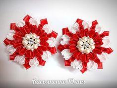 DIY резинки канзаши цветы из лент / the gum from the tape - YouTube