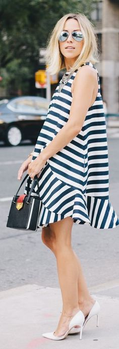 Cameo Black And White Stripe Irregular Hem A-line Mini Dress by Damsel In Dior