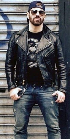 Hot Masculine Men Leather Fashion, Leather Men, Leather Jackets, Motorcycle Men, Rugged Men, Mens Clothing Styles, Gorgeous Men, Cute Guys, Bad Boys