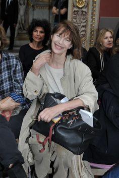 Jane Birkin and her Birkin bag Front Row at Hermès