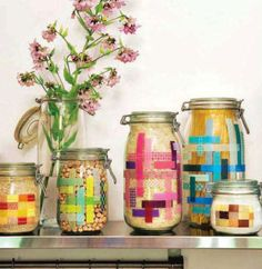 Jars decorated with washi tape