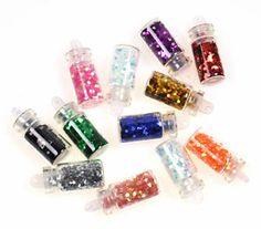 12X Hexagon Glitter Glass Mini Bottles Manicure Decoration Accessories Nail ART   eBay