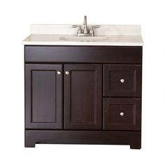 Clementon Cocoa Integral Single Sink Bathroom Vanity with Cultured Marble Top (Common: 36-in x 19-in; Actual: 36.5-in ...