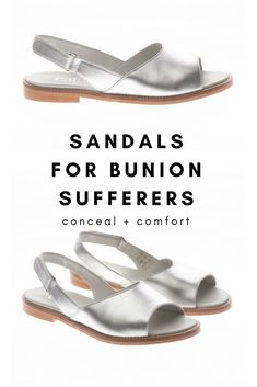 d66676ed9 Sandals for bunion sufferers! This fab flat sandal in silver leather  features a back strap that holds your foot in place and is suitable for up  to large ...