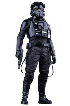 Figura piloto caza TIE Fighter 30 cm. Star Wars Episodio VII. Línea Masterpiece. Escala 1:6. Hot Toys Estupenda figura totalmente articulada del soldado piloto de la nave TIE Fighter de 30 cm de altura, a escala 1:6, con un buen número de accesorios, ropa de tejido real y por supuesto 100% oficial y licenciada.