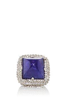 Tanzanite Sugar Loaf Diamond Ring by NINA RUNSDORF for Preorder on Moda Operandi