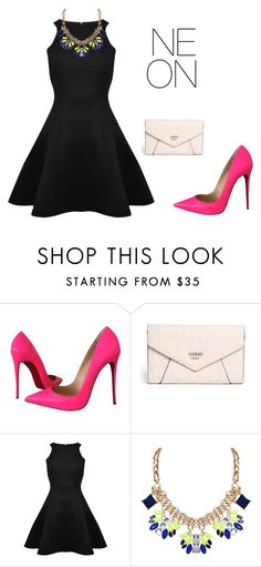 """""""NEON"""" by sarah-tav ❤ liked on Polyvore featuring Christian Louboutin, GUESS, Ted Baker and Humble Chic"""