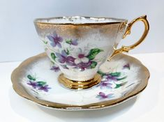 Royal Albert Tea Cup and Saucer, Purple Violet Tea Cup, Antique Tea Cups, Vintage Tea Cups, Housewarming Gift, English Bone China Cups Vintage Fur, Vintage Teacups, Vintage Dishes, Vintage China, Antique Tea Cups, Tea For One, Bone China Tea Cups, Gold Highlights, Cuppa Tea