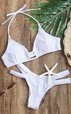 922c30c5c5 White Cutout Halter Sexy Bikini Set White Bikinis