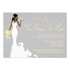 10 best bridal shower invitations images on pinterest bachelorette chic grey yellow here comes the bride shower invitation filmwisefo
