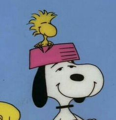 Snoopy With Woodstock in Dog Dish on His Head