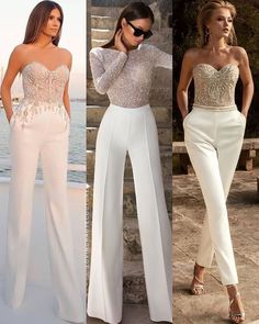 Bridal Jumpsuit 🕊 2 or Ny Dress, Jumpsuit Dress, Dress Girl, Classy Outfits, Stylish Outfits, Wedding Jumpsuit, Elegant Outfit, Look Fashion, Evening Dresses