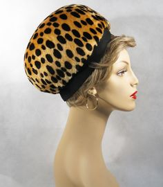 Vintage 60s 70s Hat Faux Leopard Banded Bubble Beret Sz 22.5 from Alley Cats Vintage on Ruby Lane