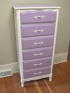 I like the idea of painting old dresser drawers purple. I have just the one in mind! Furniture Layout, Paint Furniture, White Furniture, Furniture Making, Furniture Makeover, Purple Dresser, Girl Dresser, Purple Drawers, Old Dresser Drawers