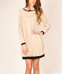 Another great find on #zulily! Beige Collared Shift Dress by Tantra #zulilyfinds