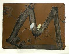 Artist: Antoni Tàpies,  title: Grand M avec taches,  technology: lithography