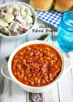 Quick Baked Beans Recipe - Pork and Beans, ketchup, mustard, onions, brown sugar and bacon. Just dump everything in a pan, bring to a boil and then simmer for 10 minutes. SO easy! They also tasted great! I thought they were some of the best we've made.
