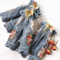 Leftover reuse jeans fabric for dolls clothes dress top skirt jacket Doll Clothes Patterns, Clothing Patterns, Moda Barbie, Yellow Clothes, Cute Outfits For Kids, Denim Outfit, Little Girl Dresses, Handmade Clothes, Barbie Clothes