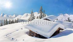 fotobehang winter in de bergen sneeuw chalet #49458832 nikkel-art.nl