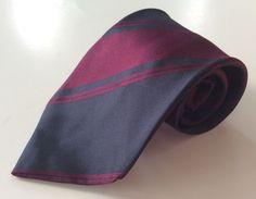 The Tie Table Neck Tie Blue Purple Striped MADE IN ITALY 100% Silk #TheTieTable #NeckTie