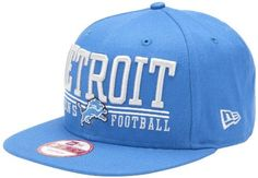 NFL Unisex Adult Detroit Lions Lateral Snapback Cap (Blue, One Size Fits All) by New Era. Save 55 Off!. $12.16. The Lateral Snap Is A New Era® 9Fifty™ Snapback Cap Featuring Retro NFL City And Team Logos.  The Cap Has An Embroidered (Raised) City Name And Team Logo On The Front, And A Stitched New Era® Flag At Wearer's Left Side.