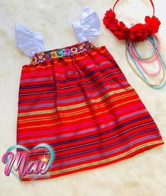 Mexican Fashion, Mexican Outfit, Mexican Dresses, Cute Outfits For Kids, Toddler Outfits, Girls Party Dress, Baby Dress, Little Girl Dresses, Girls Dresses