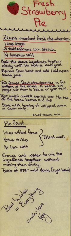 Fresh Strawberry Pie | by phil_g. A family recipe. Hand written. Easter