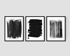 Black and White Brush Stroke Prints, Set of 3 Prints, Minimalist Abstract Wall Art, Black Ink Painting Prints Framed Wall Art, Framed Art Prints, Paint Fireplace, Black And White Wall Art, Scandinavian Art, Triptych, Pigment Ink, Abstract Wall Art, Minimalist Art