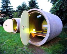 Repurposed sewer pipe hotel rooms.