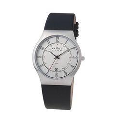 SKAGEN® Mens Mens Watches: Black Leather & Chrome Watch 233XXLSLC