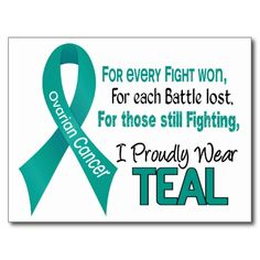 "Support everyone battling Ovarian Cancer, celebrate the Ovarian Cancer Survivors, and honor each person who has lost their Battle to Ovarian Cancer with I PROUDLY WEAR TEAL tshirts and gifts with Teal Ribbon. Ideal for Ovarian Cancer Awareness Month, Ovarian Cancer Walks, Ovarian Cancer Support Events, or anytime!  VISIT <a href=""http://www.zazzle.com/awarenessgifts""><font color=Blue>OUR ZAZZLE STORE</a> TO SEE MORE EXCLUSIVE OVARIAN CANCER DESIGNS FOUND ONLY AT AWARENESS GIFT BOUTIQUE, A…"