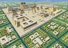 BCR - Year 8 History: Images of Tenochtitlan Aztec City, Ancient Aztecs, Ancient Civilizations, Aztec Empire, Aztec Culture, Inka, Fantasy Art Landscapes, Fantasy City, Ancient Aliens