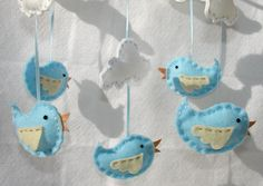 Baby Bird Mobile Blue Bird and Clouds Felt Crib Mobile. DIY