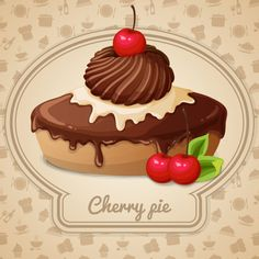 """Buy the royalty-free Stock vector """"Cherry pie dessert bakery emblem and food cooking icons"""" online ✓ All rights included ✓ High resolution vector file f. Cupcake Art, Cupcake Drawing, Cooking Icon, Cooking Recipes, Logo Doce, Collages D'images, Cake Vector, Cake Logo Design, Cupcake Pictures"""
