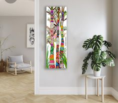 Trees of Life Abstract Art Painting Framed Canvas Print, Colorful fWall Hanging, Bohemian Home Decor, Native American Shamanic Art, Spiritual Tree #treeoflifeart #treeoflifepainting #treeoflifecanvasprint #spiritualtreeoflife #nativeamericanart #minimalistartdecor #minimalistlifestyle #soulayadesigns #faribafarsad