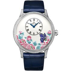 Jaquet Droz Les Ateliers d'Art Petite Heure Minute Relief j005034272... ($51,920) ❤ liked on Polyvore featuring jewelry, watches, white gold watches, blue watches, monarch butterfly jewelry, butterfly jewelry and blue butterfly jewelry