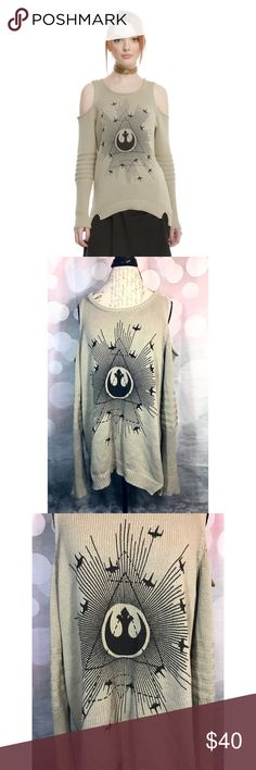 Star Wars Rogue One Rebel Cold Shoulder Sweater A Cold Shoulder Knit Sweater from Star Wars Rogue One. Dark beige in color and featured rebel symbol in the front. Slit hems & slight hi-low Hem! Size 2. Lightly worn once and in amazing condition, with only small fuzzies from normal wear and wash. Additional Information: Made in: China Material: 100% cotton Star Wars Sweaters Crew & Scoop Necks